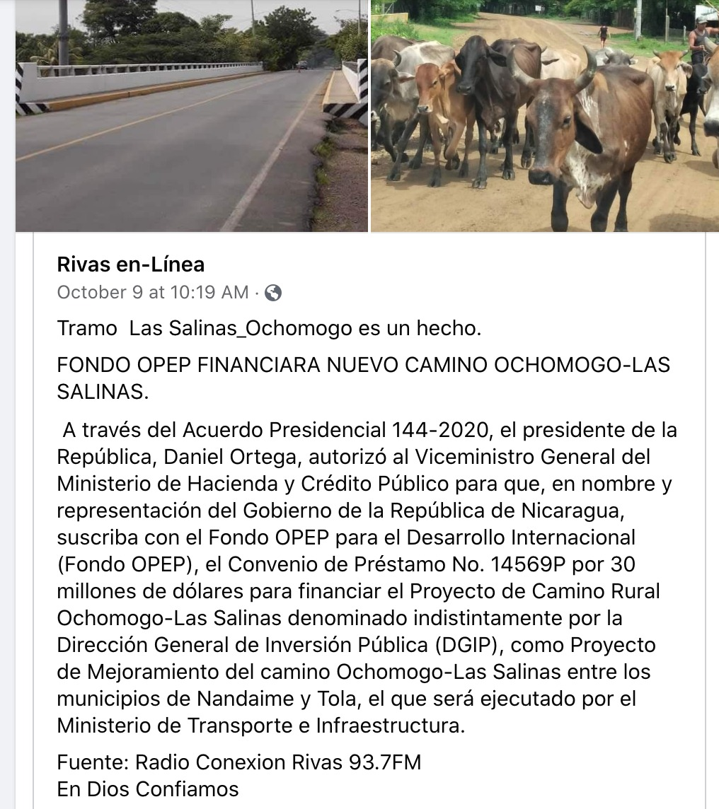 Announcing the new road project from Ochomogo to Las Salinas